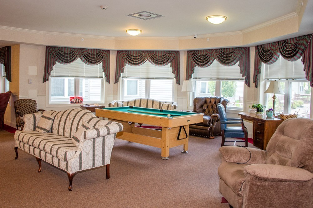 There's a secondary community room complete with pool table.