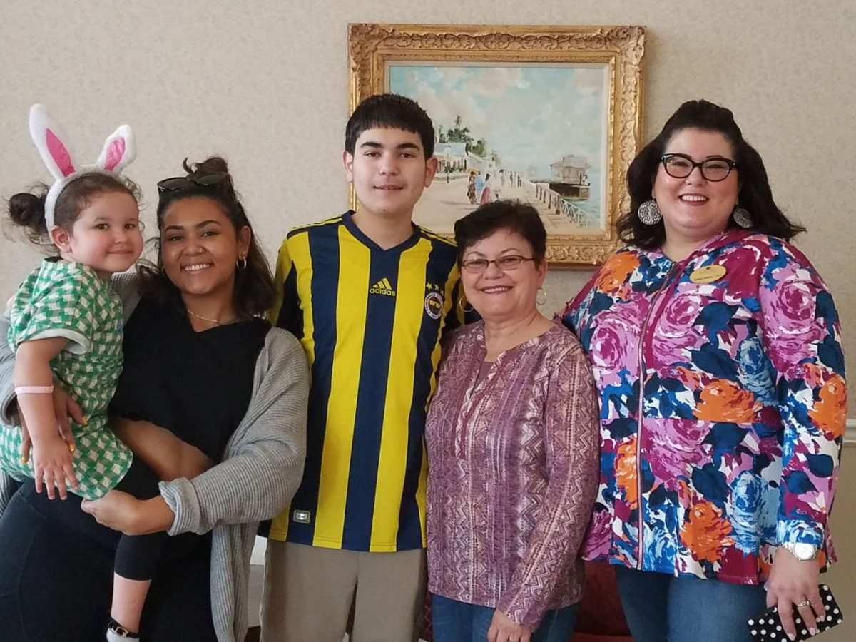 Easter egg hunt family picture