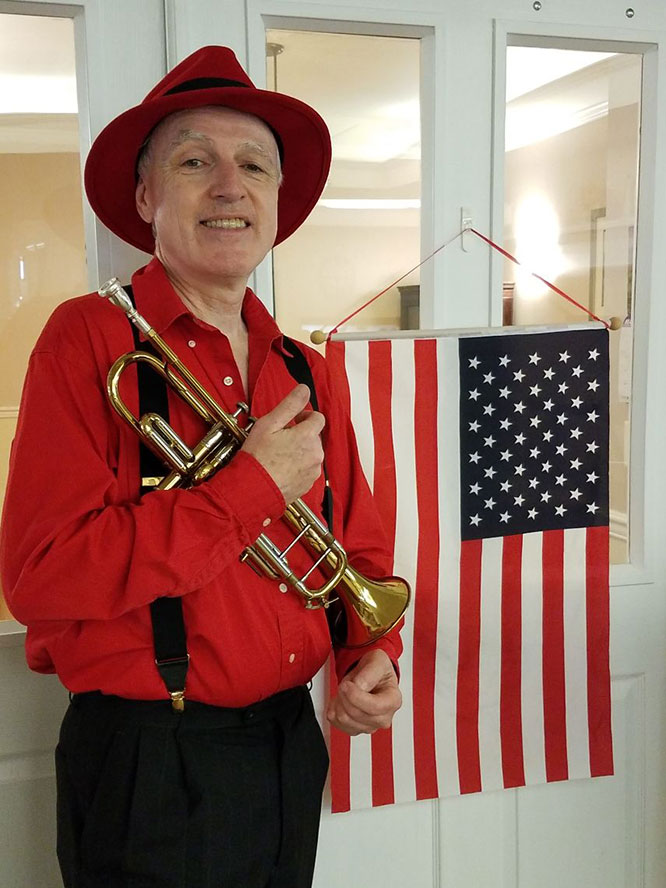 Memorial Day - Bob holds his trumpet